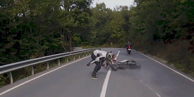 Şile'deki motosiklet kazası saniye saniye kamerada