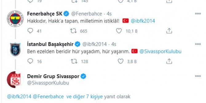 Futbol kulüplerinin sosyal medyada İstiklal Marşı paylaşımları ayakta alkışlandı