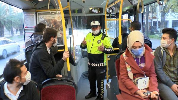 İstanbul'da toplu taşıma araçlarında korona denetimi