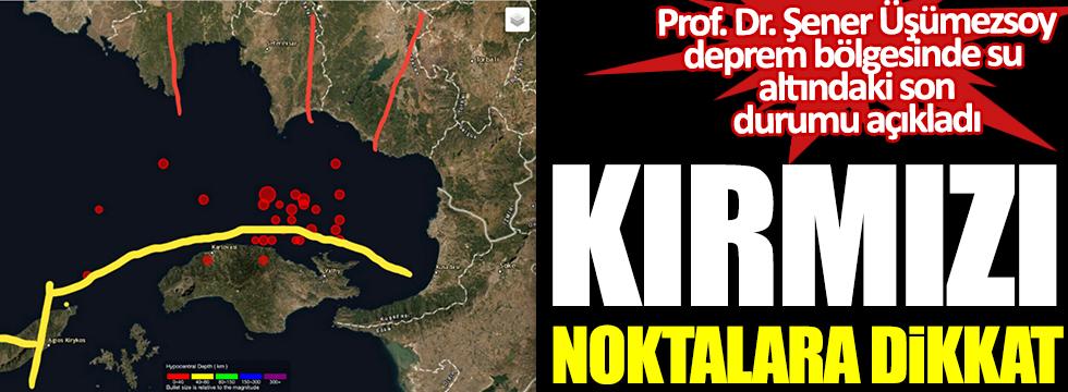 Prof. Dr. Şener Üşümezsoy deprem bölgesinde su altındaki son durumu açıkladı. Kırmızı noktalara dikkat