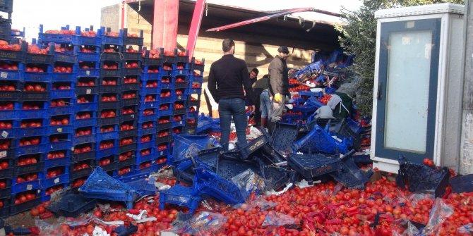 Yol biber ve domates tarlasına döndü