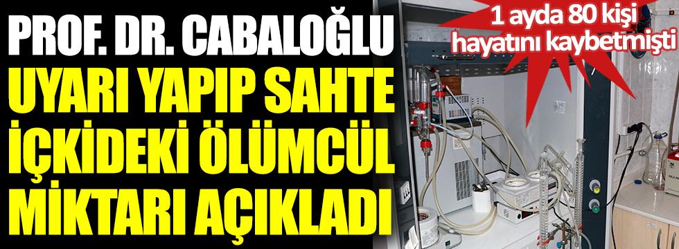 Prof. Dr. Cabaroğlu sahte içkideki ölümcül miktarı açıkladı. 1 ayda 80 kişi  hayatını kaybetmişti.Yılbaşına sayılı günler kala uyarı üstüne uyarı yaptı