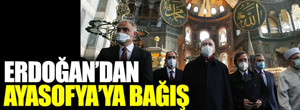 Cumhurbaşkanı Erdoğan'dan Ayasofya'ya bağış