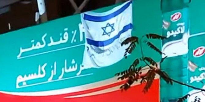 İran'da olay pankart! İsrail bayrağı ile 'Teşekkürler Mossad' yazısı asıldı