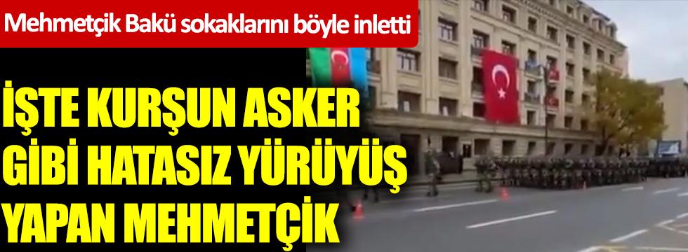 Mehmetçik Bakü sokaklarını böyle inletti... İşte kurşun asker gibi hatasız yürüyüş yapan Mehmetçik