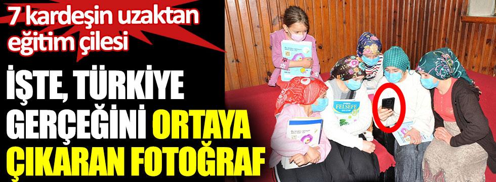 Trabzon'da 7 kardeşin uzaktan eğitim çilesi. İşte, Türkiye gerçeğini ortaya çıkaran fotoğraf