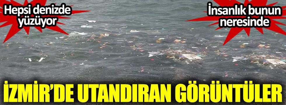 İzmir'de utandıran görüntüler. Hepsi denizde yüzüyor. İnsanlık bunun neresinde