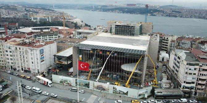 AKM inşaatının yüzde 80'i tamamlandı. Atatürk Kültür Merkezi'deki son durum havadan görüntülendi