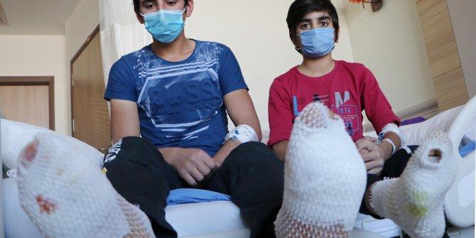 Erzincan'da taşıdıkları yük ayak tabanlarını patlattı.40 gündür hastanedeler