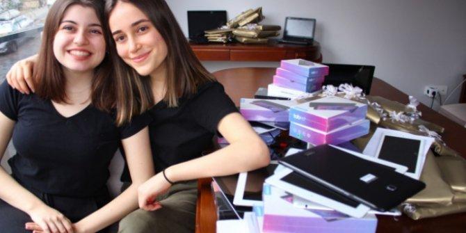 """İki kız öğrenciden """"Hayaller karantinada kalmasın"""" projesi"""