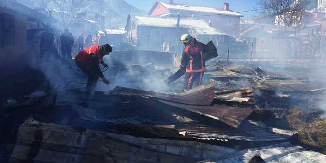 Ahırda çıkan yangında 27 hayvan telef oldu