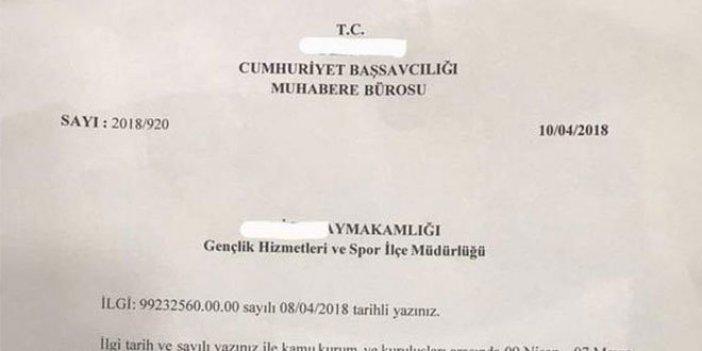 Turnuvada yenilen Cumhuriyet Başsavcılığı kimlere resmi yazı gönderdi?
