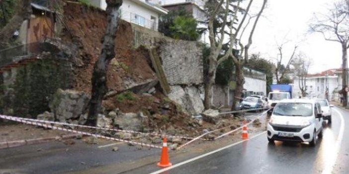 Beykoz'da istinat duvarı çöktü