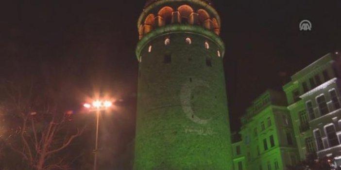 Galata Kulesi yeşerdi!