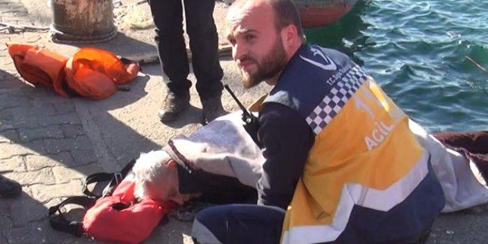 Denize düşen kişiyi balıkçılar kurtardı