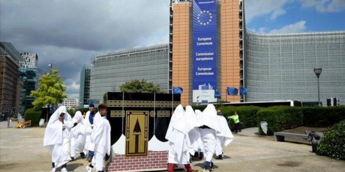 Brüksel'de Suudi Arabistan'a tavaflı protesto