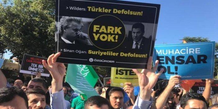 Suriyeli mitinginde şok pankartlar