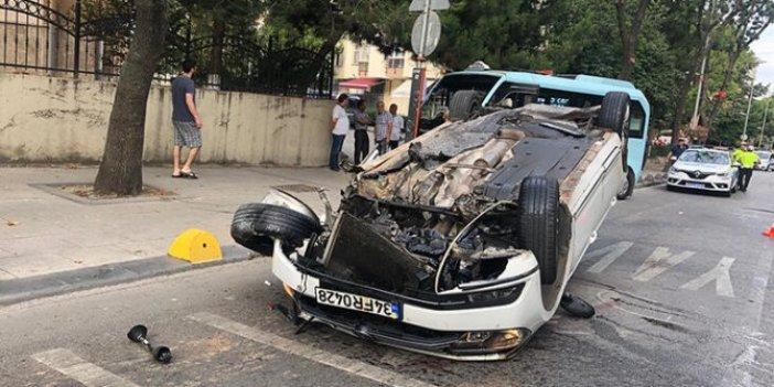 İstanbul'da feci kaza: Otomobil takla attı