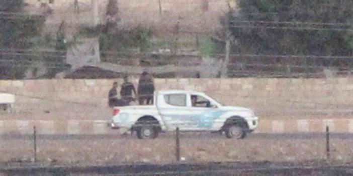 YPG'li teröristler sınır hattında görüntülendi