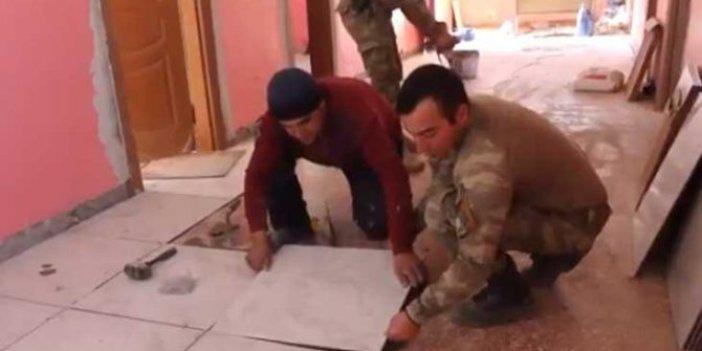 Teröristlerin tahrip ettiği okulu Mehmetçik onardı