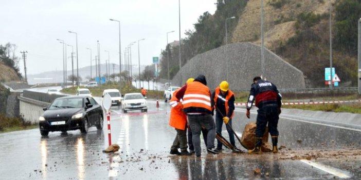 Zonguldak'da tünel girişinde heyelan
