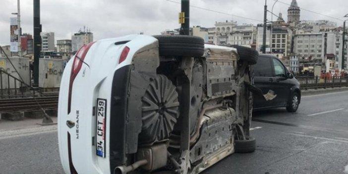 Galata Köprüsü'nde trafik kazası