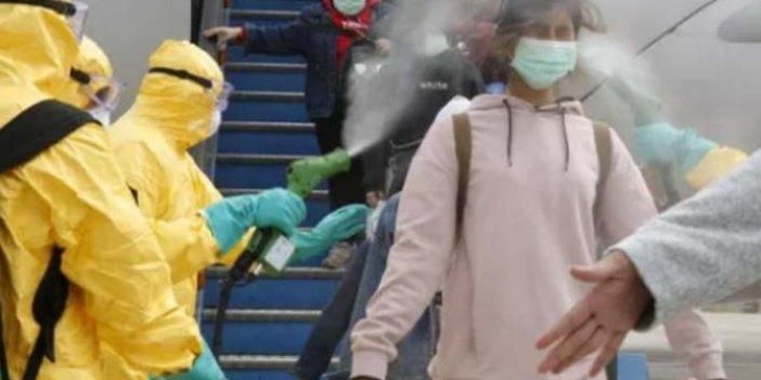 Yolcuların üzerine dezenfektan sıkıldı