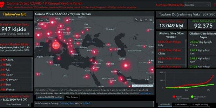 Türkçe'ye çevrildi: İşte korona virüsün dünyaya yayılım haritası!