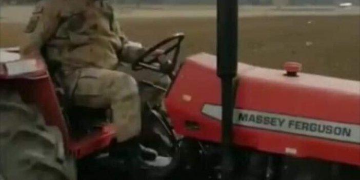 Dışarı çıkamayan dedenin yerine traktöre binip tarlayı sürdü