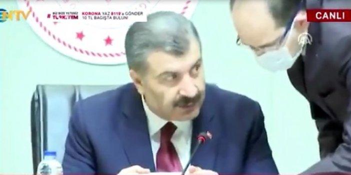 Sağlık Bakanı Koca'dan, yanına gelen personele mesafe uyarısı