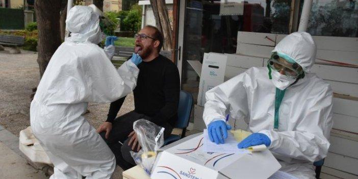 İzmir'de sokak ortasında korona virüsü testi