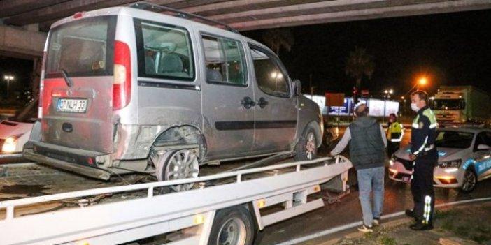 Görenler hayrete düştü: İki lastiği olmayan araçla 15 km kaçtı