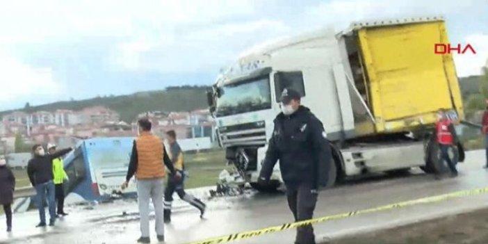 Ankara'da feci kaza! TIR ile otobüs çarpıştı: Çok sayıda yaralı var