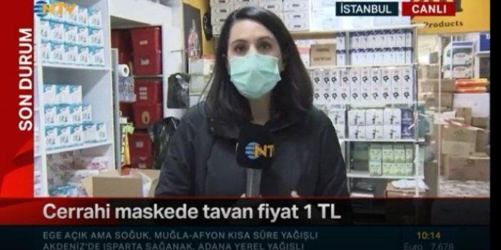 Hani maskede fiyat 1 liraydı, muhabir canlı yayında gerçeği açıkladı