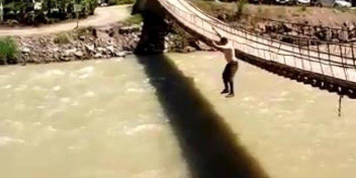 Köprüden atlayan milli güreşçi korkuttu