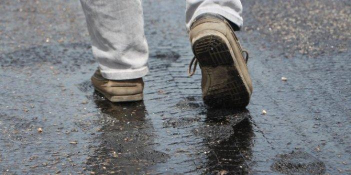 Tokat'ta sıcak hava asfaltı eritti