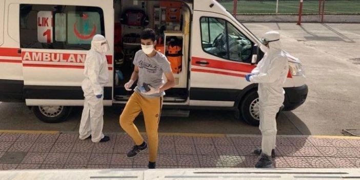 Koronalı öğrenciler LGS'ye ambulansla getirildi