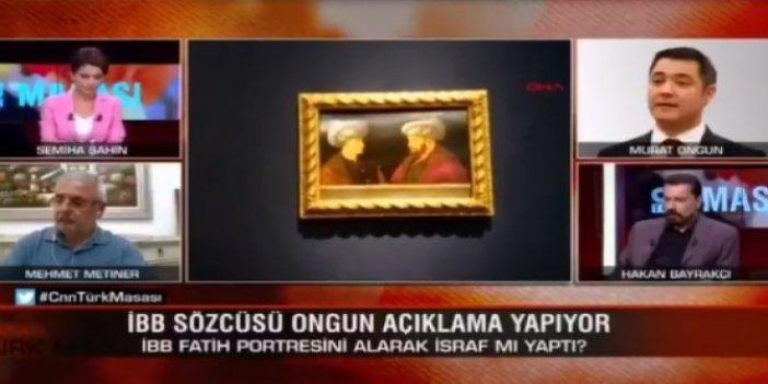 Fatih'in portresinin alınmasından rahatsız olan Mehmet Metiner, İBB sözcüsü yayına bağlanınca dondu kaldı