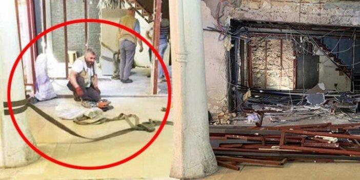 Gömülen 2 tonluk kasayı tarihi sütunlara bağladıkları halatla çıkardılar! Kapalıçarşı'da faciadan dönüldü