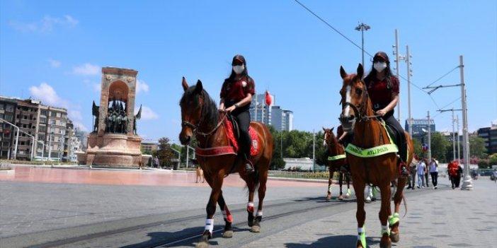 At üstündeki kadın polisler denetimde