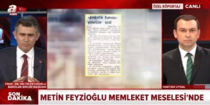 Metin Feyzioğlu'ndan A Haber'de 'çoklu baroya' destek açıklaması