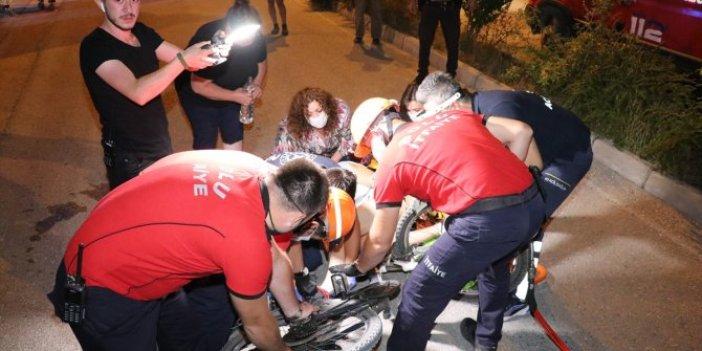 Bolu'da feci bisiklet kazası! Gidon bacağına saplandı