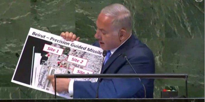 Baş şüphelilerden biri İsrail çıktı! Patlamanın olduğu yeri 2018 yılında BM'de böyle işaret etmişler