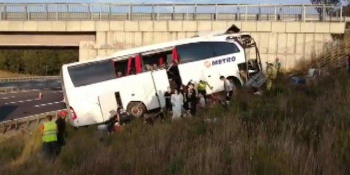 Kuzey Marmara Otoyolu'nda otobüs yoldan çıktı