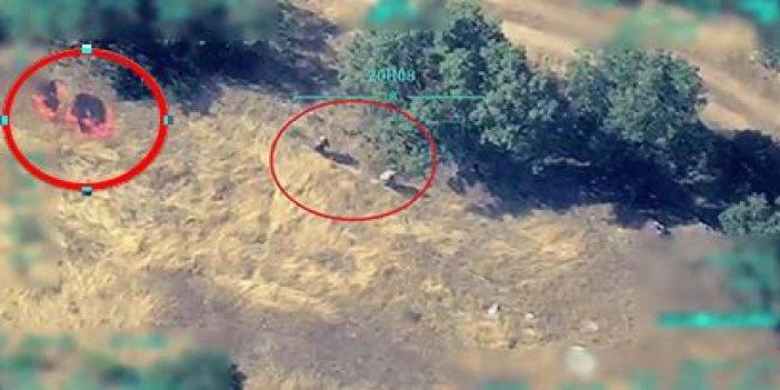 İHA saniye saniye görüntüledi! Orman yakan 2 PKK'lı belasını buldu