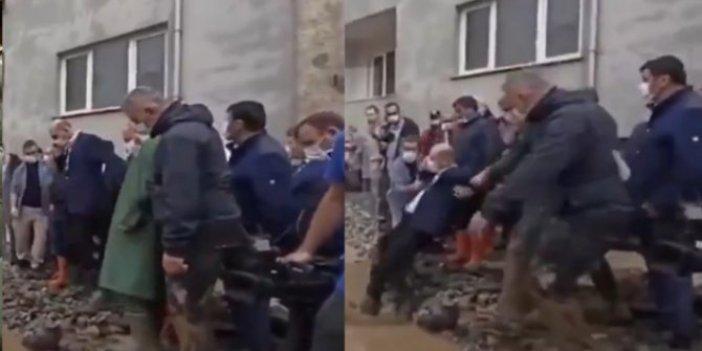 Süleyman Soylu, Giresun'da sele kapılmaktan son anda kurtuldu!