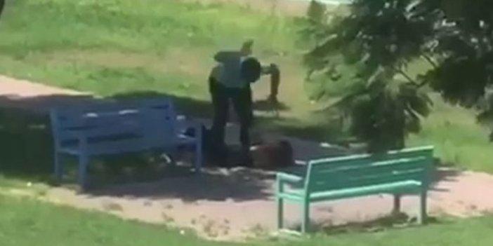 Parkta kadını yere yatırıp bayıltana kadar dövdü