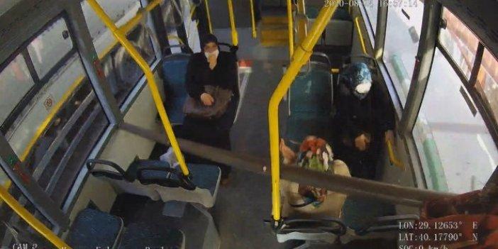 3 metrelik demir boru otobüse ok gibi saplandı