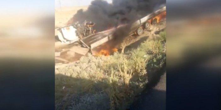 Konya'da otomobille çarpışan TIR alev topuna döndü