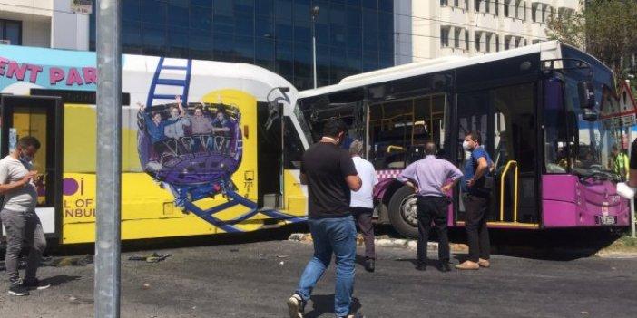 Bağcılar'da tramvay İETT otobüsünü biçti